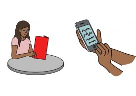 Illustration of a woman with glasses reading a menu and a mobile device