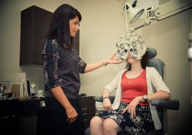 Young woman getting an eye exam at Royal Oak Optometry