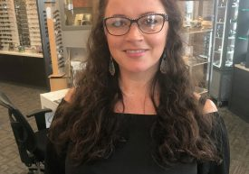 Nancy showing off some of our in stock JF Rey frames
