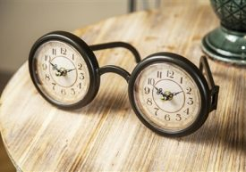 A clock that looks like eyeglasses