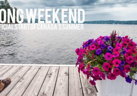 May long weekend banner featuring a lakeside deck