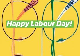 Happy Labour Day image with illustrated colourful eyeglass frames