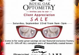 Royal Oak Optometry – Client Appreciation Sale poster featuring Brendel, Tura, Titanflex, L.A.M.B., Humphrey's, Ted Baker, Lulu Guinness