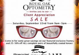 Royal Oak Optometry – Client Appreciation Sale poster featuring Brendel, Tura, Titanflex, L.A.M.B., Humphrey's, Ted Baker, Lulu Guinness